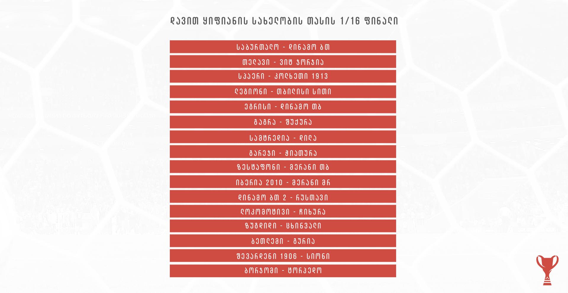 საქართველოს დავით ყიფიანის სახელობის თასის 1/16 ფინალური ეტაპის წყვილები